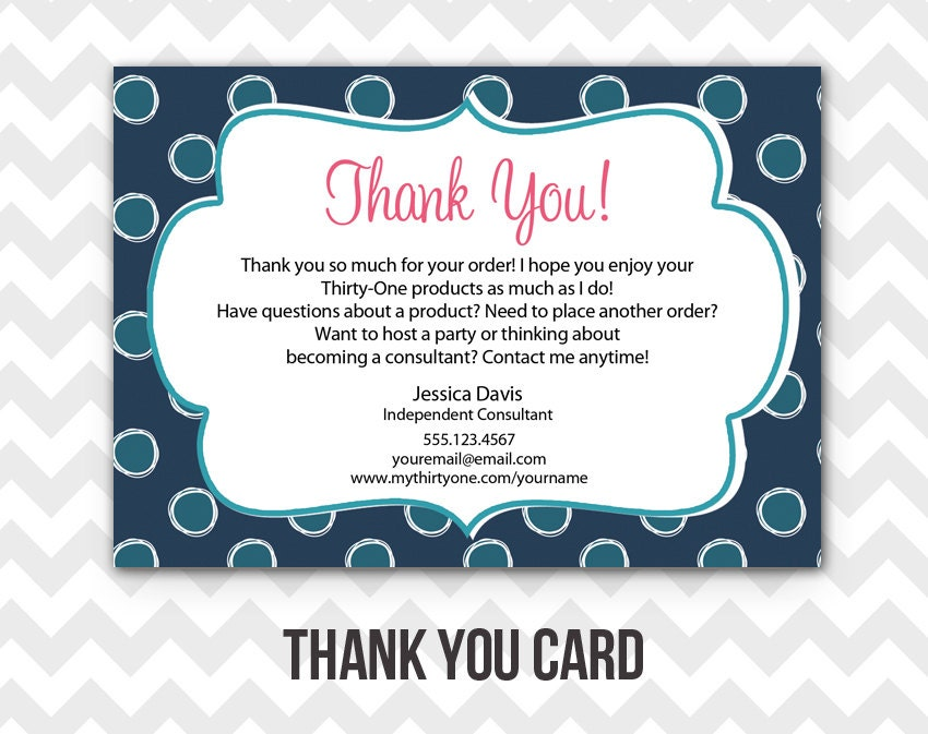 Thirty-One Thank You Postcard Printable Direct Sales MLM