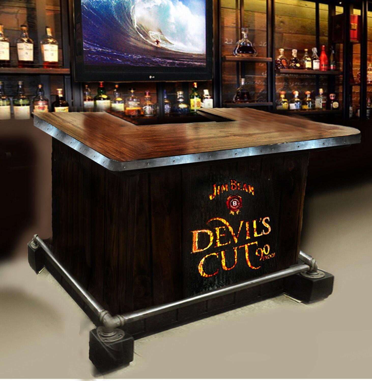 17 Rustic Home Bar Designs Ideas: Custom Home Bar Hand Built Rustic Whiskey, Pub, Man Cave