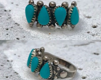 sterling silver turquoise row vintage southwestern southwest ring size 5.5