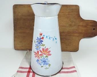 French Vintage Enamel Pitcher/French Vintage Large Enamel Jug/ French Enamelware