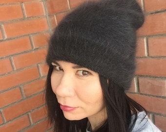 Angora beanie Women's hat Winter hat Knitted hat Handmade beanie