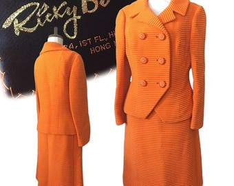 """1960s Double-Breasted Skirt Suit — 27"""" Waist"""