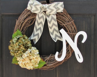 Year Round Monogram Wreath for Front Door Decor, Everyday Wreath with Initial, Personalized Wreath for All Seasons, Letter Front Door Hanger