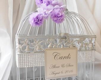 Silver and Purple Wedding Birdcage Card Holder | Wedding Card Box | Spring Wedding | Lavender Wedding Decor