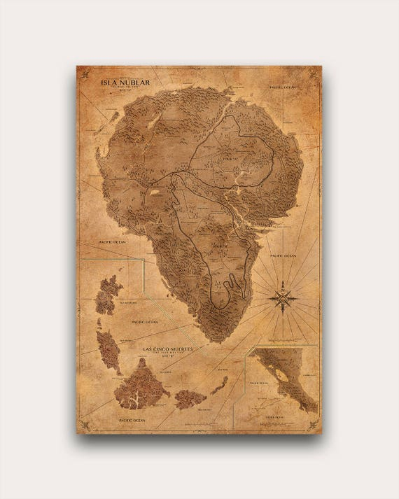 Jurassic park map sepia poster isla nublar map print jurassic park map sepia poster isla nublar map print antique style vintage world map dinosaur gumiabroncs Image collections