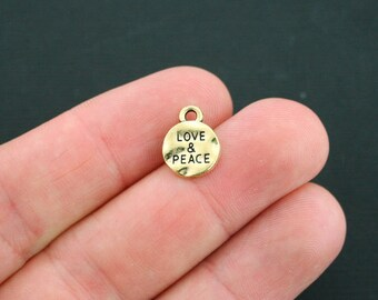 15 Love Peace Charms Antique Gold Tone - GC502