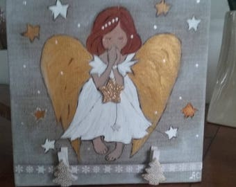 Painting Angel made of acrylic paint for home decor
