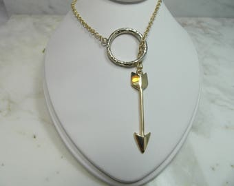 Beautiful 14 K Lariat Necklace Arrow Through Bull's-eye Real Solid Gold