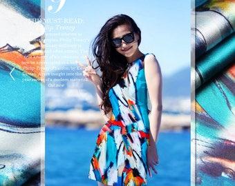 Graffiti Art Print Stretch Silk Satin Fashion Apparel Fabric Width 46 inch