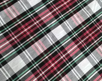 Tartan Fabric, Red and White Plaid Fabric, Red Tartan Plaid, Red White and Green 100% Cotton Fabric, Christmas, Crafts, Sewing, Shirting