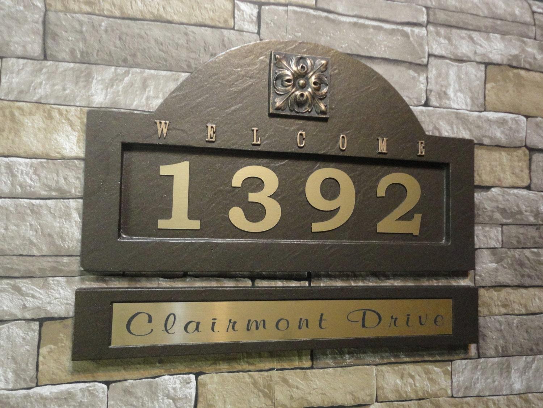 Tuscan address plaque mediterranean house numbers large for Mediterranean house numbers