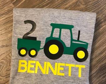Tractor birthday shirt, tractor birthday, tractor 2nd birthday shirt, tractor 2, boys tractor shirt, boys second birthday shirt, boys 2nd