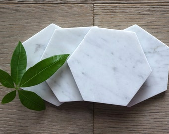 30% OFF****   Limited Time. Bianco Gioia Hexagon Marble Coasters. Polished. Set of 4