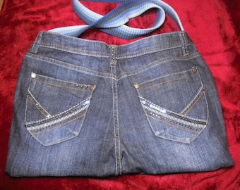 blue denim with studs and sequins fully lined bag