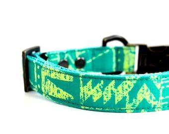 Emerald Green BOHO Dog collar - Antique Brass