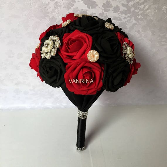 Dark Red Wedding Bouquet Black Bridal Bouquet With luxury