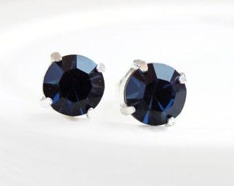 Navy Blue Crystal Post Earrings - Blue Earrings - Bridesmaid Jewelry - September Birthstone - crystal earrings - Swarovski earrings