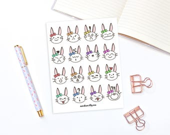 Bunny mood stickers - 16 kawaii animal stickers, planner stickers, bullet journal stickers, mood tracker stickers, moonbunny stuckers