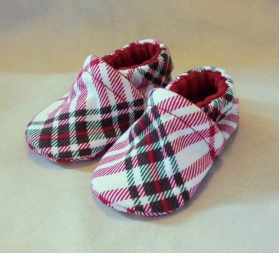 Plaid: Soft Sole Baby Shoes 0-3M