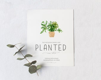 Moving Announcement Card, 5 x 7 Planted New Roots Moving Card