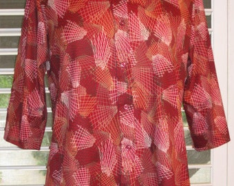 Red Polyester Shirt With Abstract Print Vintage 1970s From Sears