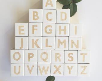 Wooden toys // Wooden white Block Set // Nursery Decor // Alphablocks // Letter Blocks // Alphabet Cubes // ABC Blocks //
