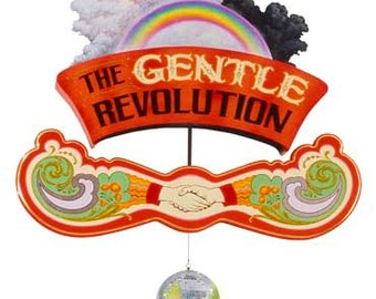 The Gentle Revolution - Poster - Sign painting, fileteado, hands of unity, flowers