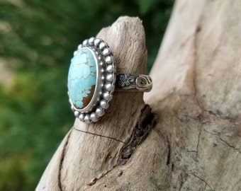 Number 8 Mine Turquoise and Sterling Silver Ring Size 6.5