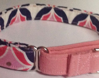 Pink and Navy Blue Martingale Collar for Girl Dogs