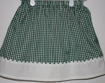 Green Gingham Skirt  Size 2 - 7