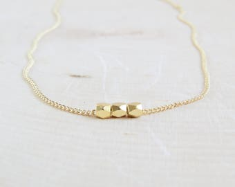 Tiny Gold Bead Necklace   Simple Gold Bead Necklace   Dainty Gold Bead Necklace   Minimalist Gold Bead Necklace