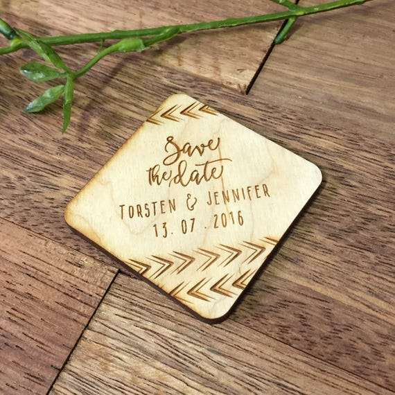 10 Wooden Save The Date Magnets Custom Engraved Arrows