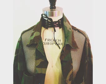 Mesh Cut-Out Vintage Army Jacket
