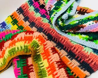 Crochet Blanket, Afghan Rainbow Blanket Throw, Vintage Handmade Crochet Lap Blanket