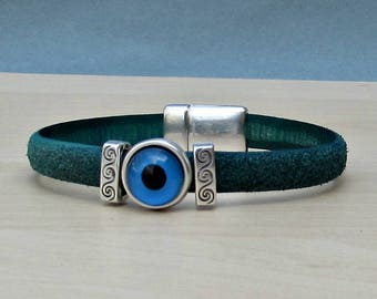 Turquoise Evil Eye Mens Bracelet Blue Eye Leather Mens Bracelet Cuff Silver Plating Magnetic Clasp Customized On Your Wrist