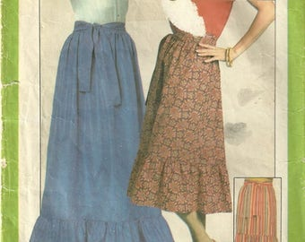 Simplicity 8304 Vintage 70s Boho Gypsy Granny Prairie Skirt Sewing Pattern Size 12 Waist 26 1/2 - Hippie