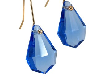 Azure Blue faceted glass drop earrings