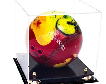Deluxe Clear Acrylic Bowling Ball Display Case with Risers (A028)