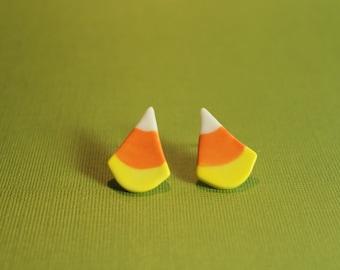 Bonbons au maïs Halloween boucles d'oreilles en porcelaine fait main bijoux en céramique