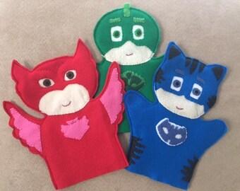 PJ Mask Puppets, Cat Boy, Owlette, Gecko, Pretend Play, Handmade puppets