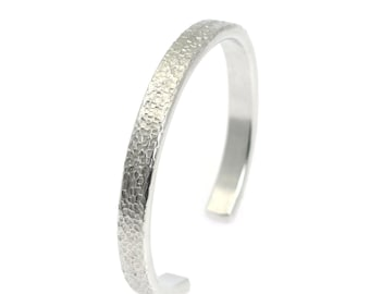 Thin Texturized Aluminum Cuff - Silver Stackable Mix & Match Cuffs - Handmade Silver Toned Jewelry for Women and Men - 10th Anniversary
