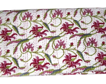 Indian Handmade Kantha Quilt Queen Size Bedding Bedspread Bed Cover Blanket Hand Stitched Throw Gudri Ralli !
