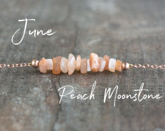 Peach Moonstone Necklace, June Birthday Gifts for Her, Healing Crystal Necklace, Boho Necklace, Gemstone Jewelry, June Birthstone Necklace