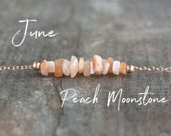 Raw Peach Moonstone Necklace