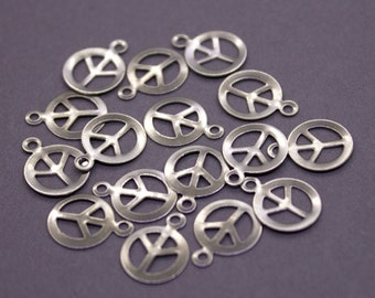 BULK 500 Brass Peace Sign Charms 14x10mm | Silver Peace Charms, Peace Sign Pendant,Silver Peace Sign,Peace Pendant,Silver Peace -CS1007-