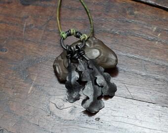 Iron Oak Leaf Necklace, a hand forged large triple Oak leaf pendant on a leather cord