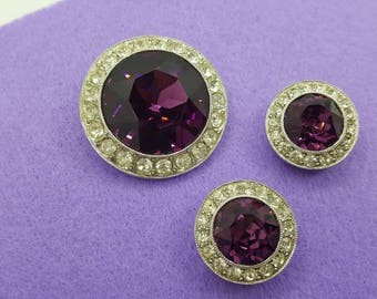 Sarah Coventry Royal Velvet Brooch and Clip earrings 1972 mint condition Deep Purple