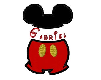 Mickey Mouse Pants Applique Shirt or Onesie with Monogram - Fully Customizable