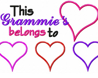 Instant Download: This Grammie's Heart Belongs to Embroidery Design Appliqué
