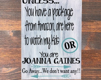 No Soliciting Wood Sign, Joanna Gaines Wood Sign, Amazon, Whitewashed, No Soliciting, Arrows